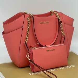Michael Kors LG Chain Tote & Double Zip Wallet
